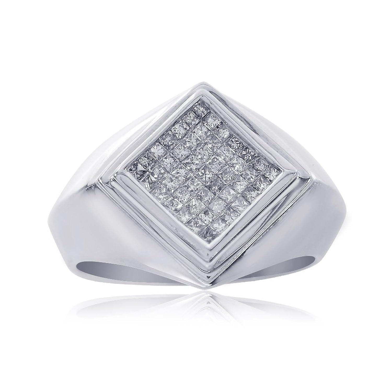 0.85 Carat Princess Cut Mens Diamond Ring 14K White Gold