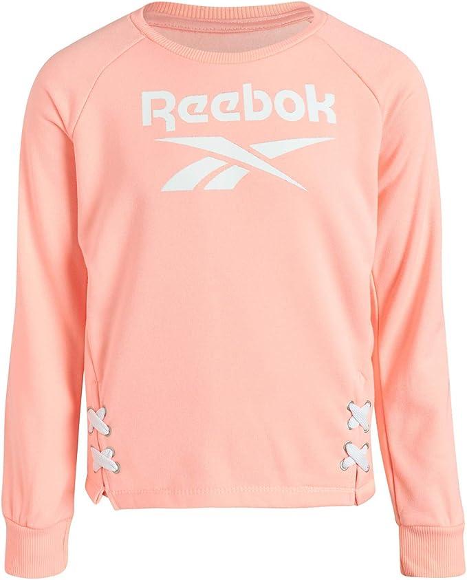 Reebok Girls/' Fleece Pullover Fashion Hoodie with Cuffed Sleeves and Waist