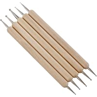 KABEER ART 5 Pcs Double Ended Stainless Steel Ball Stylus Wooden Tool Set for Clay, Pottery, Ceramic