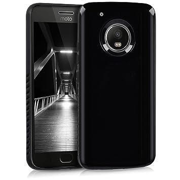 kwmobile Funda para Motorola Moto G5 Plus - Carcasa Protectora [híbrida] de [TPU] - Cover Trasero en [Negro Brillante]
