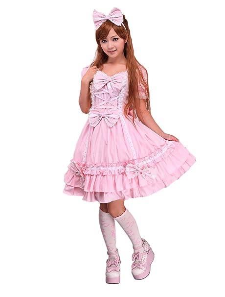 antaina Vestido de Lolita y Vestido de Lolita Victoriana de Encaje con Volantes en Algodón rosa