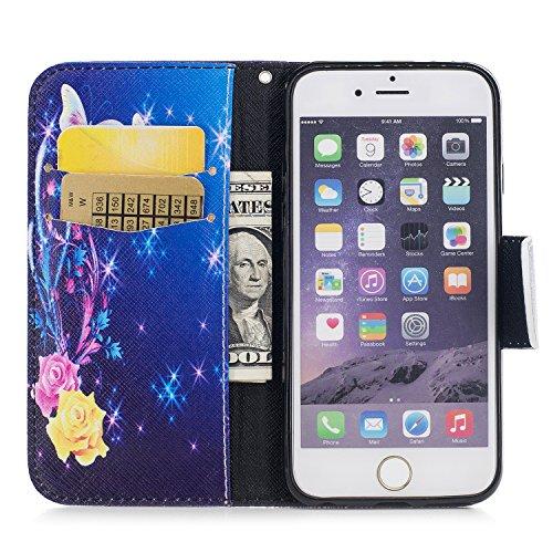 Artfeel iPhone 6 Plus Hülle,iPhone 6S Plus Wallet Flip Hülle, Stilvoll Farbmalerei Muster Tasche,[Magnetverschluss] Premium PU Bookstyle Leder Brieftasche mit Kredit Kartenfächer und Klapptasche Stoßf Gelber Blumen Schmetterling