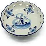 """Blue and White Delft Blue Round Heart Basket (6.5"""")"""
