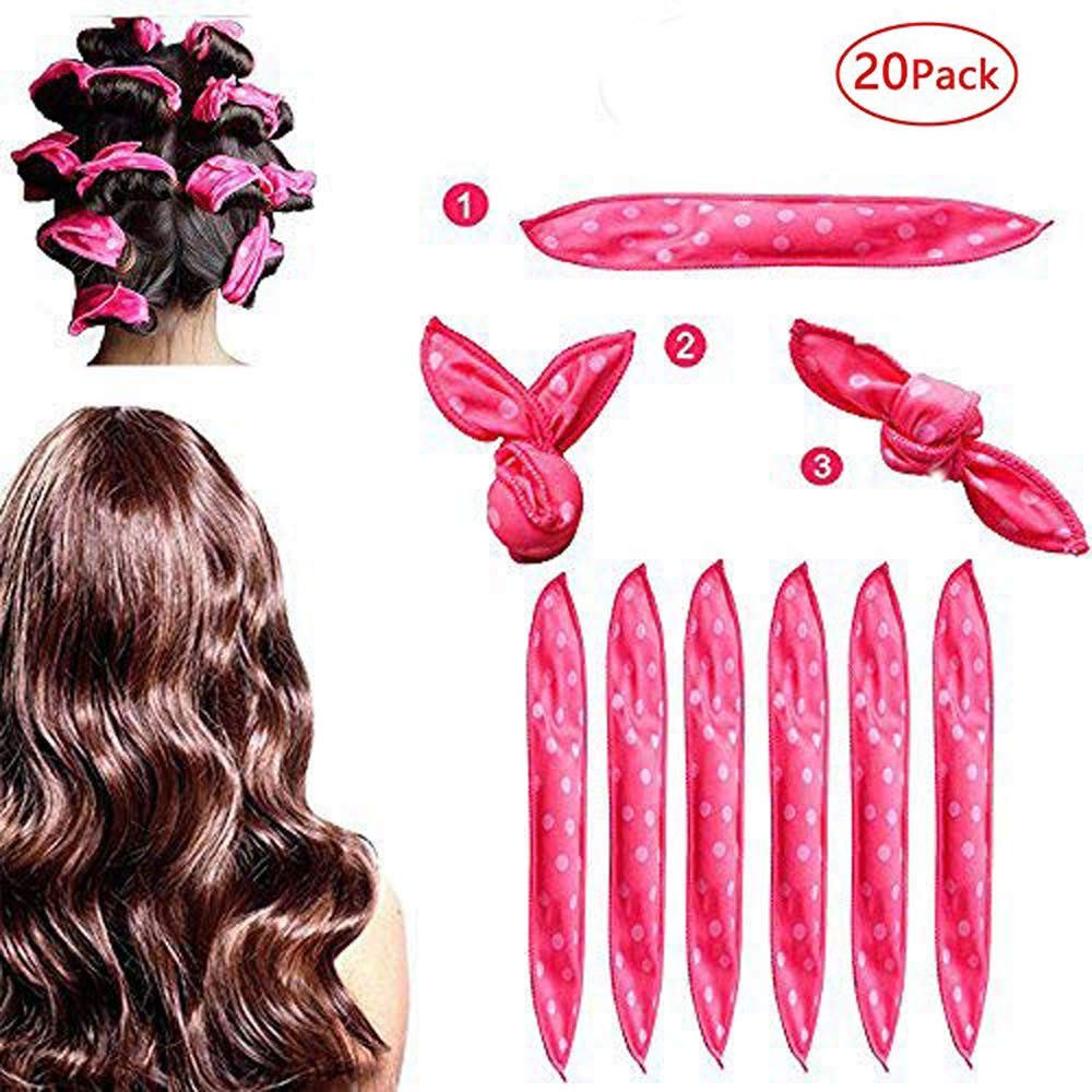 Foam Hair Curlers, Pillow Cloth Hair Rollers,No Heat Sleeping Soft Sponge Rollers for Long, Short, Thick & Thin Hair Spiral Curls Hair Styling Rollers (Pink)