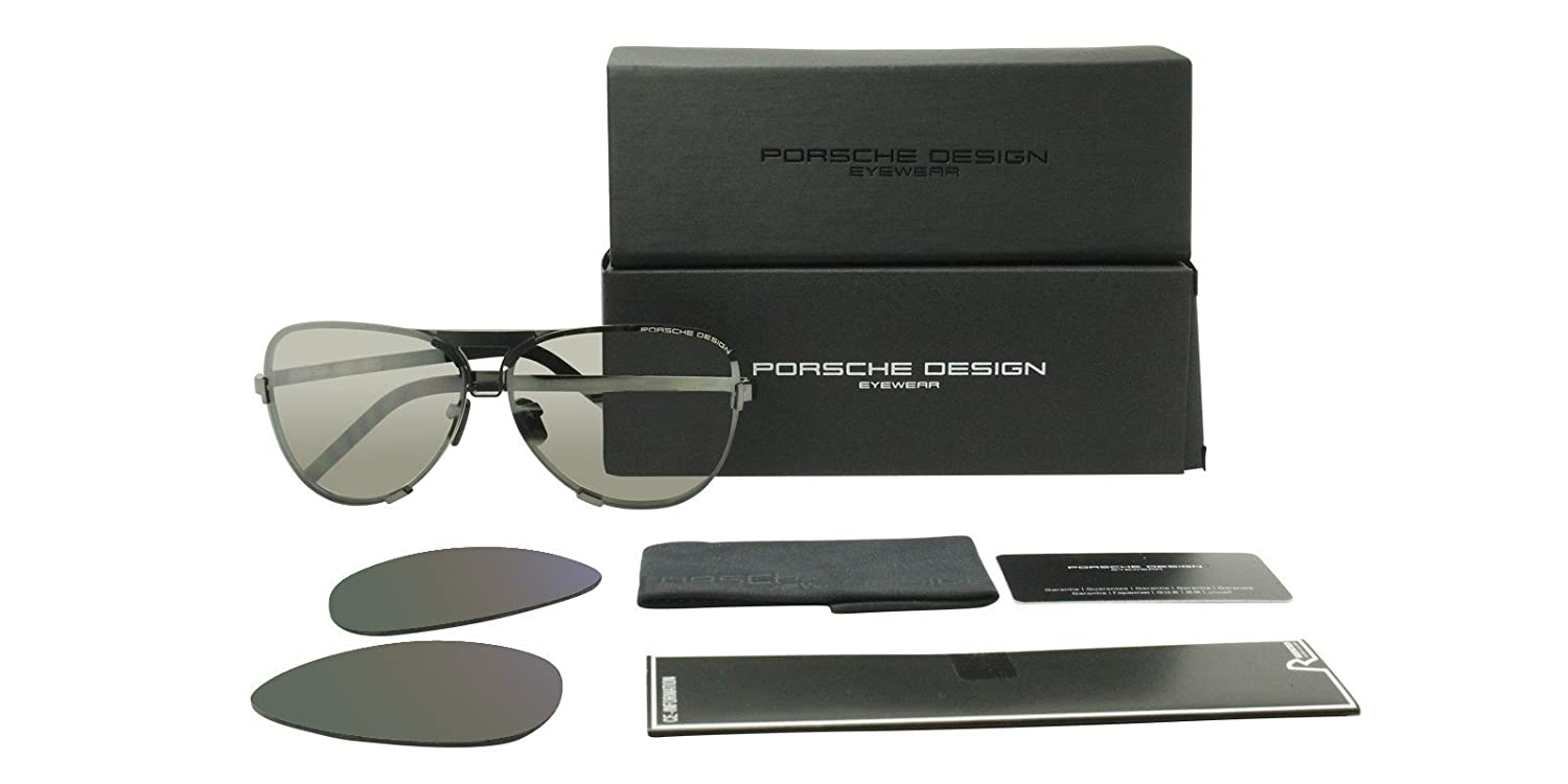 2d07e5ced2d8 Amazon.com  Porsche Design Men s Titanium Sunglasses P8678 A Dark Gun With  2 Set of Lenses  Clothing