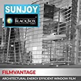 SunJoy Silver Home House Window Tint Film Clear to Privacy Chrome - 36 in By 50 ft, 35% Medium Tinted