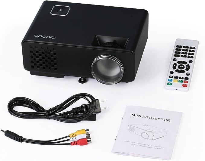 Mini proyector LED Proyector portátil de vídeo aidodo 1800 lúmenes ...