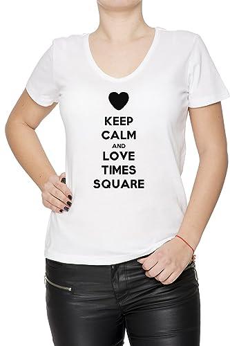 Keep Calm And Love Times Square Mujer Camiseta V-Cuello Blanco Manga Corta Todos Los Tamaños Women's...