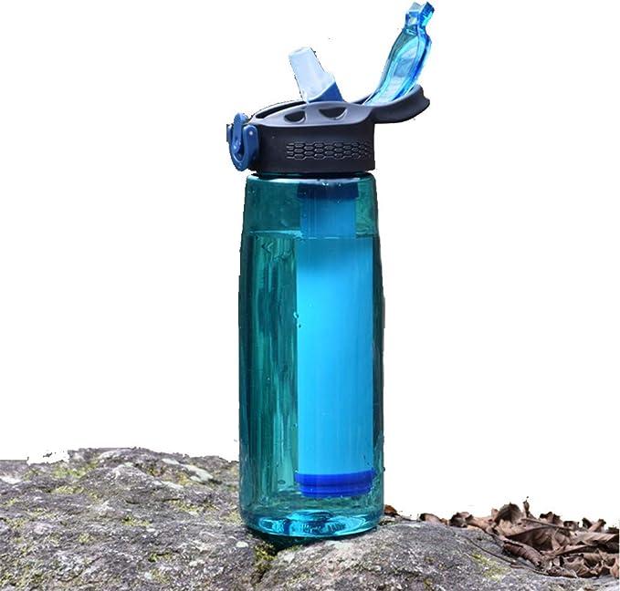 Botella de agua deporte botella con filtro, purificador de agua ...