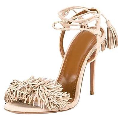 f3e0762e52c Lovirs Womens Beige High Heel Open Toe Ankle Ties Fringed Suede Sandals  Dress Stiletto Shoes 4