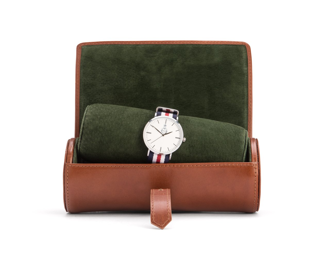 SAGEBROWN Havana Tan With Green Large Watch Roll by Sage Brown (Image #1)