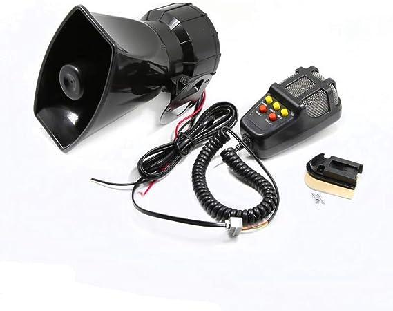 DHUILE Altavoz Siren para coche alarma Siren 12 V 80 W para coche Siren con micr/ófono PASpeaker System Amplificador de sonido de emergencia furgonetas camiones motosbarcos Carro de