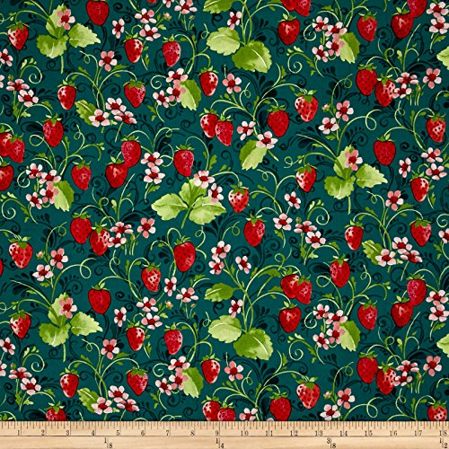 - Sugar Berry Strawberry Pie Metallic Radiant Juniper Fabric by The Yard