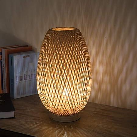 HZC Lámpara de Mesa de bambú rústica Retro Accesorios de luz Junto ...