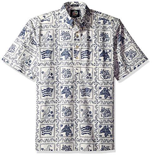 Reyn Spooner Men's Lahaina Sailor Spooner Kloth Classic Pullover Hawaiian Shirt, Natural, -