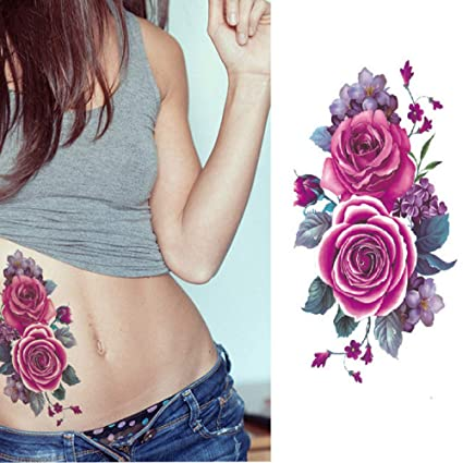 7pcs etiqueta engomada del tatuaje de la flor pegatina brazo ...