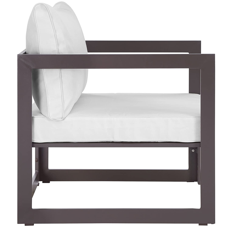 Modway Fortuna Aluminum Outdoor Patio Armchair in Brown Mocha