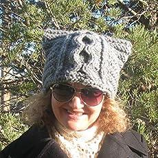 1a8379047f2 Handmade Knitted Cat Hat Knit Beanie Cat Ears Girls Women Ladies Winter Hat.