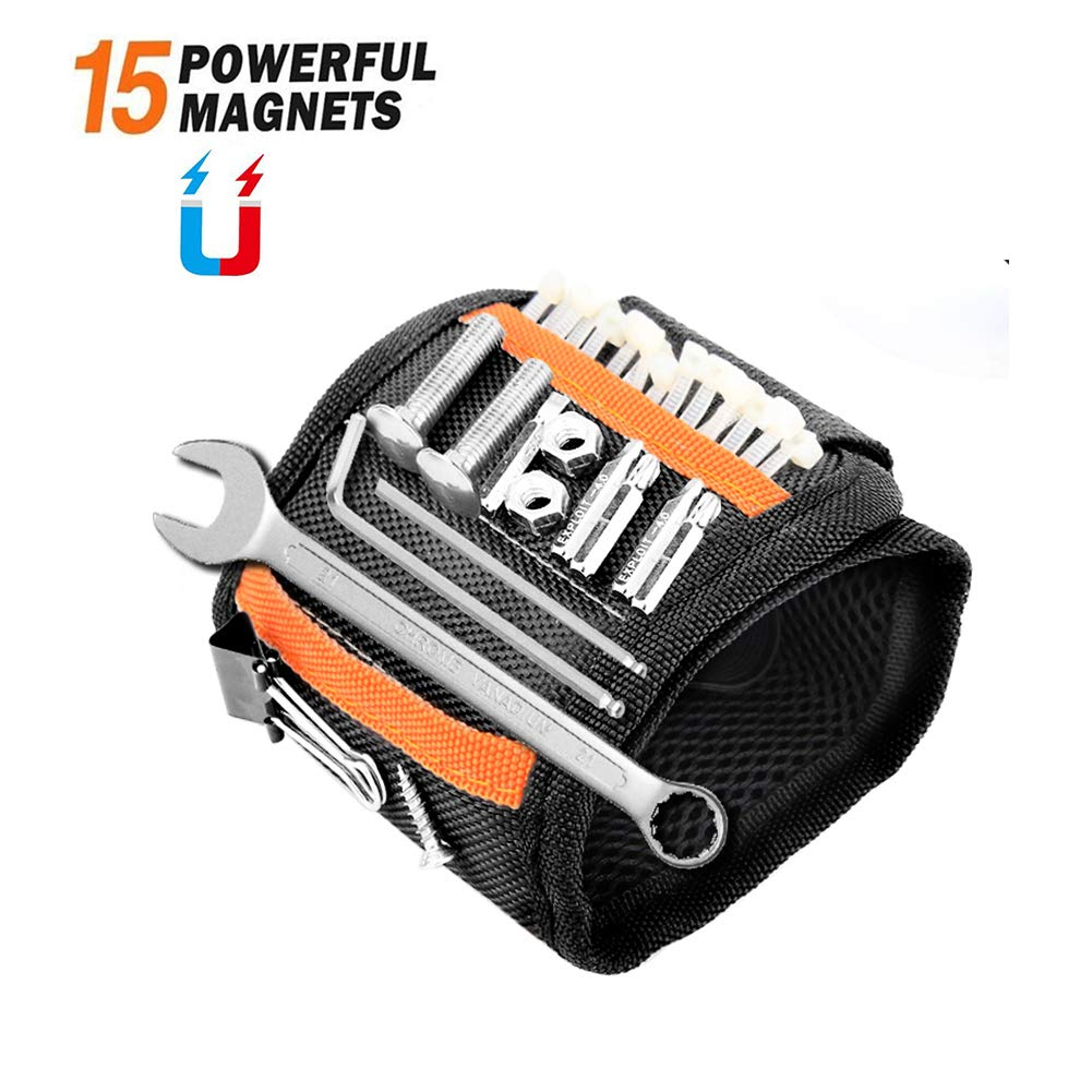 Magnetic Wristband with 15 Strong Magnets Tools Belt Adjustable Wrist Strap for Holding Tools Screws Nails Drilling Bits Best Gifts for Men DIY Handyman Electrician Husband Father and Family