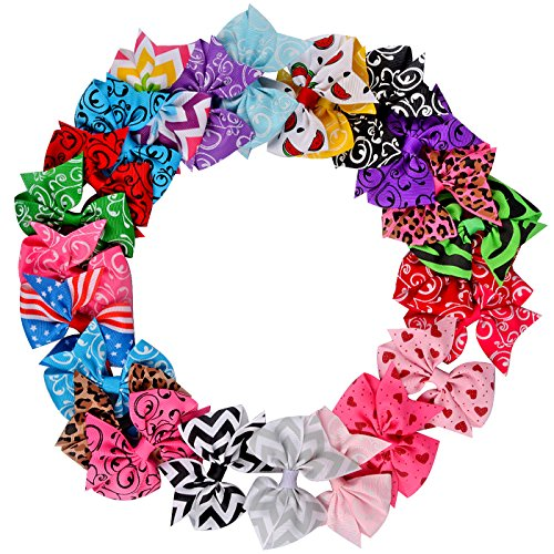 Imanom 24Pcs Baby Girl Hair Bows,Grosgrain Ribbon Boutique Hair Clips For Teens Girls Kids