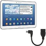 kwmobile Adaptador de Micro USB a USB 2.0 con cable conector acodado de 90° para Samsung Galaxy Tab 4 10.1 T530 / T531 / T535 in negro