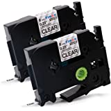 Fimax 2 Pack Compatible TZe111 Black on Clear For Brother P-Touch Laminated Label Tape Maker 6 mm 0.24 Inches (TZe-111 TZE 111 TZ111)