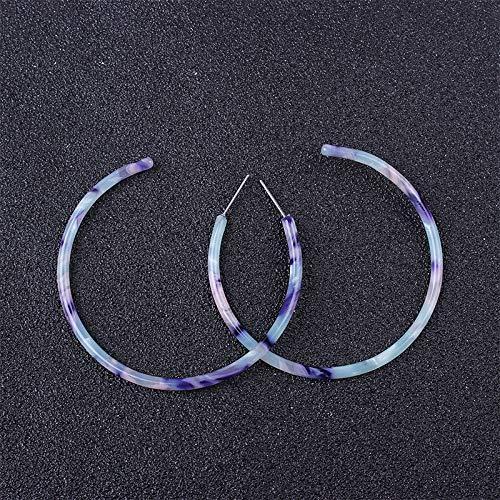 (huyue2019 9 New Acrylic Acid Type Earrings Semicircle Retro Earrings Earrings Sweet Temperament Cold Color do.)