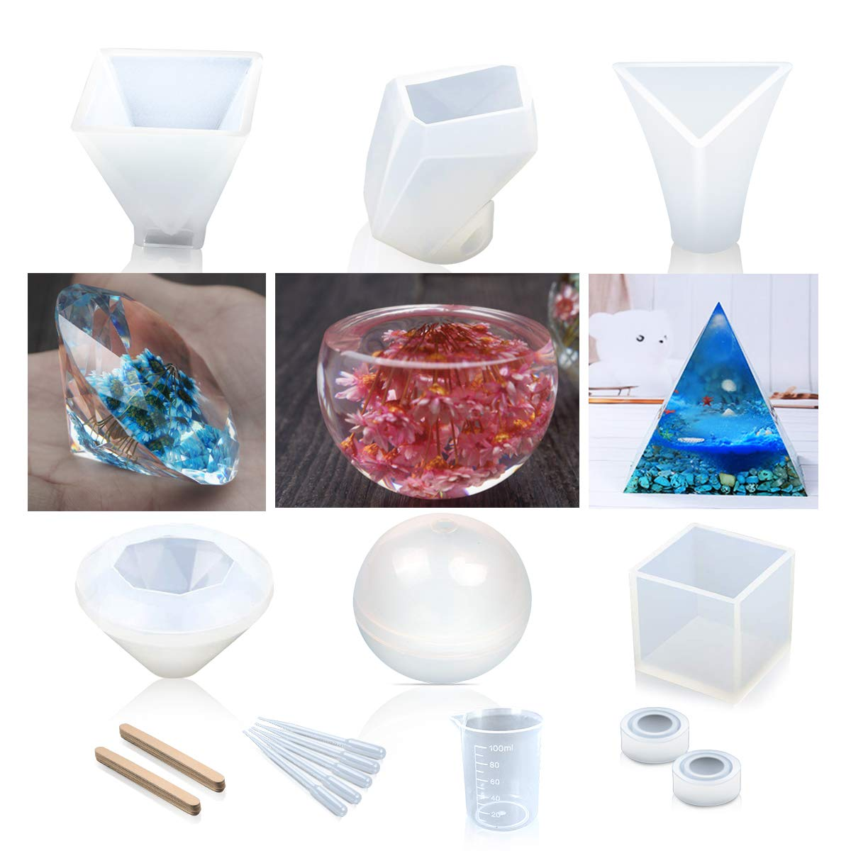 Resin Casting Molds, 8 Pack Large Clear DIY Silicone Molds Including Spherical/Cubic/ Diamond/Pyramid/ Triangular Pyramid/Stone/ Ring Shape Mold, with Measurement Cup& Sticks& Droppers Vindar