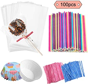 Jatidne 100 Pieces Cake Pop Sticks Lollipop Sticks with Lollipop Bags Ties and Cupcake Wrappers for Lollipop Making Party Favours