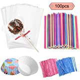 Jatidne 100 Pieces Cake Pop Sticks Lollipop Sticks with Lollipop Bags Ties and Cupcake Wrappers for Lollipop Making…