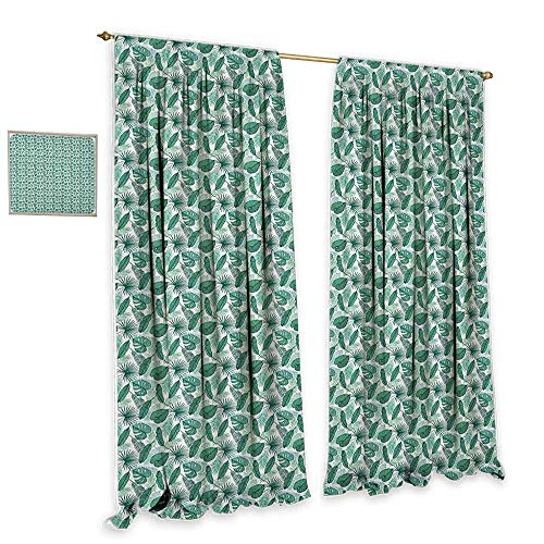 cobeDecor Banana Leaf Sliding Curtains Monstera Areca and Fan Palm Leaves in Green Artistic Natural Pattern Noise Reducing 55
