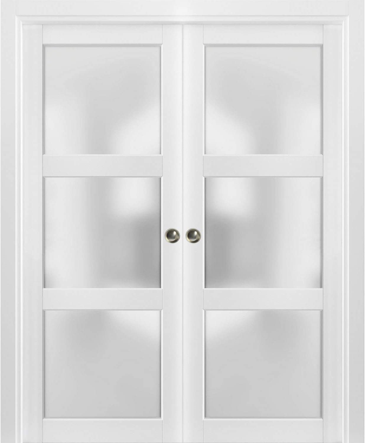 Lucia 2552 Matte White Kit Trims Rail Hardware Solid Wood Interior Bedroom Sturdy Doors Sliding French Double Pocket Doors 64 x 96 inches Frosted Glass 3 Lites