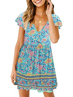 2e5135ba7 Imysty Womens Summer Bohemian V Neck Floral Print Casual Beach Party Short  Mini Dress