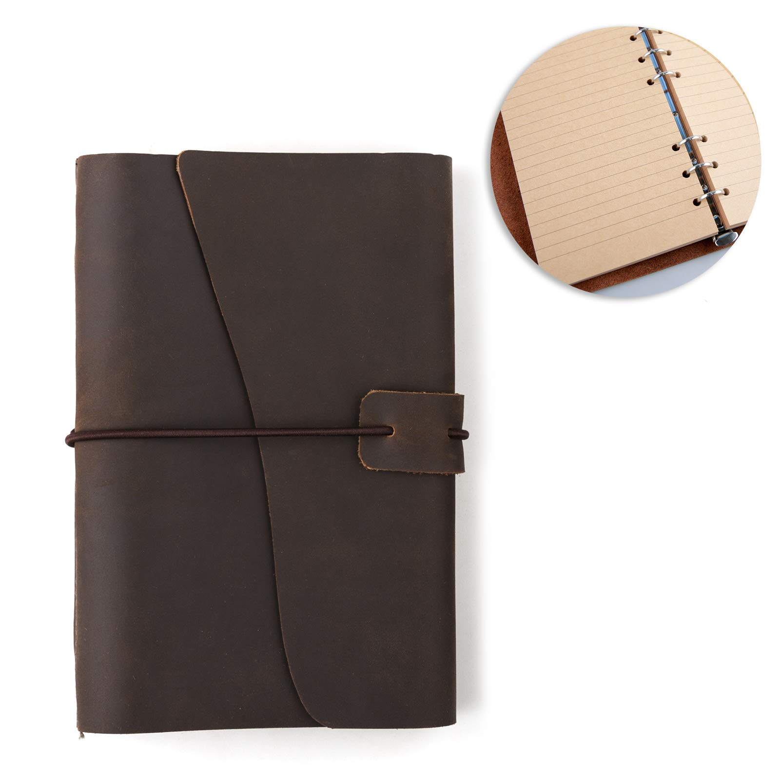 Leather Journal Refillable Notebook Writing Bound Diary Unlined Paper 160P 7x5''