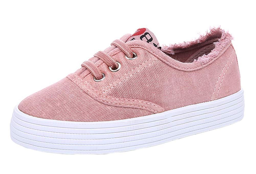 iDuoDuo Kids Frayed Slip On Low Top Leisure Loafers Outdoor Walking Flats Pink 12 M US Little Kid
