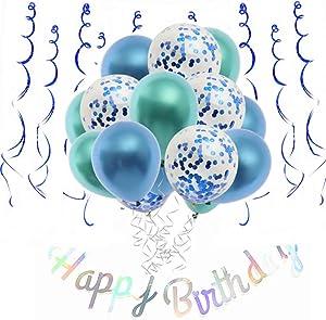 Teal Birthday Decorations blue for women men girls boys,Happy Birthday Banner,birthday Balloon,Spirals first 3rd 10th 17th 19th 21st 30th Birthday Party Supplies
