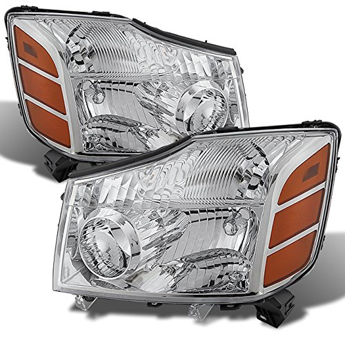 For 04-15 Titan Pickup Truck 05-07 Armada Headlights Front Lamps Direct Replacement Pair Left + Right