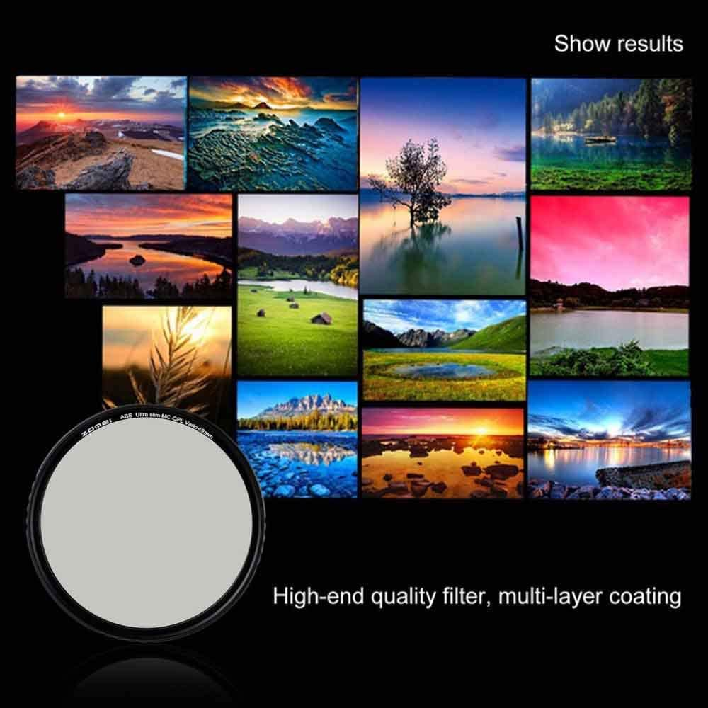 unbrand ZOMEI ABS Optical Glass CPL Slim Multi-Coated Circular Polarizer Polarizing HD Lens Filter for DSLR Lens 49//52//58//67//72//77//82 mm