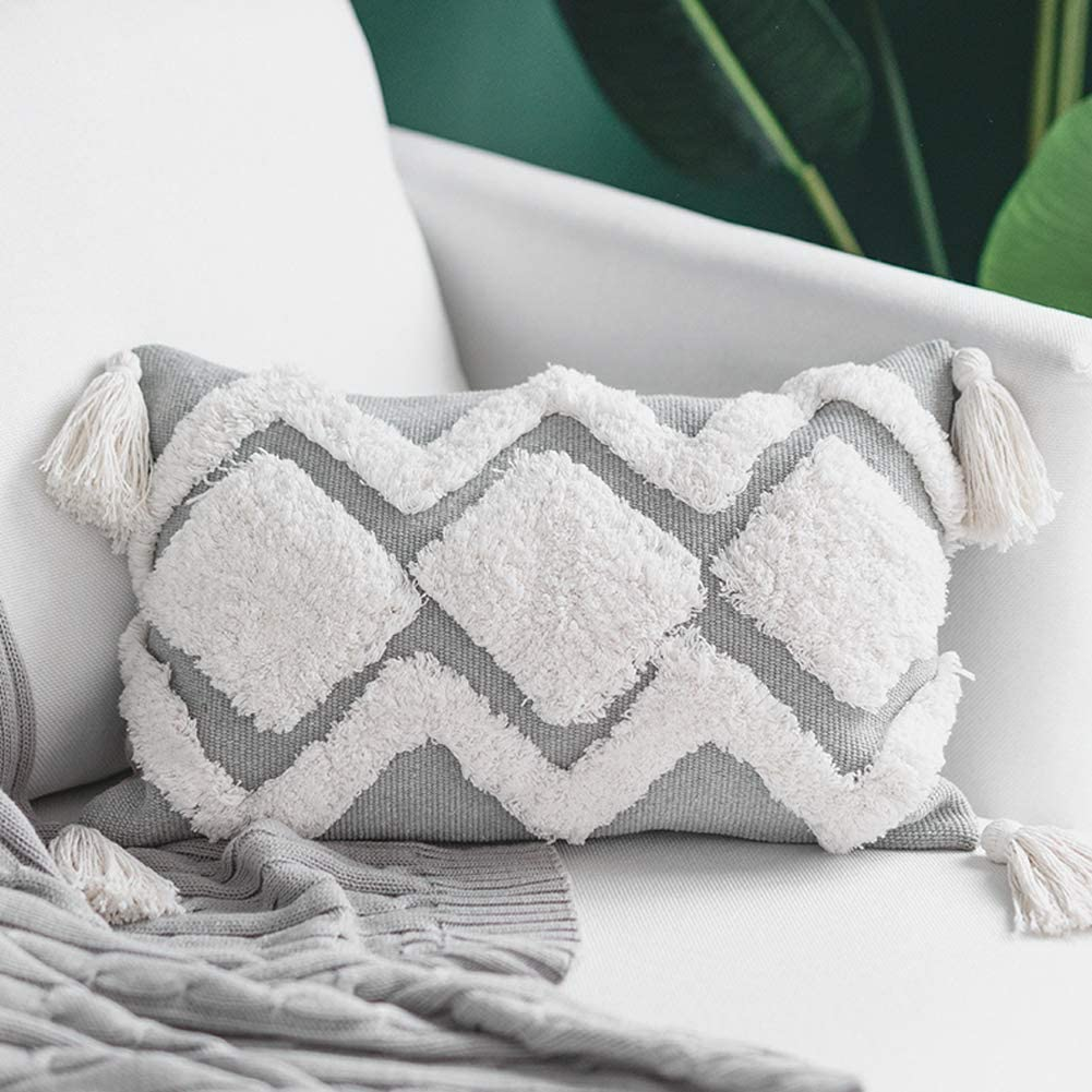 Amazon.com: Blue Page Lumbar Small Decorative Throw Pillow Covers 12X20 Inch For Couch Sofa Bedroom Living Room, Woven Tufted Boho Pillows Cover With Tassels, Cute Grey Farmhouse Pillows Case: Home & Kitchen