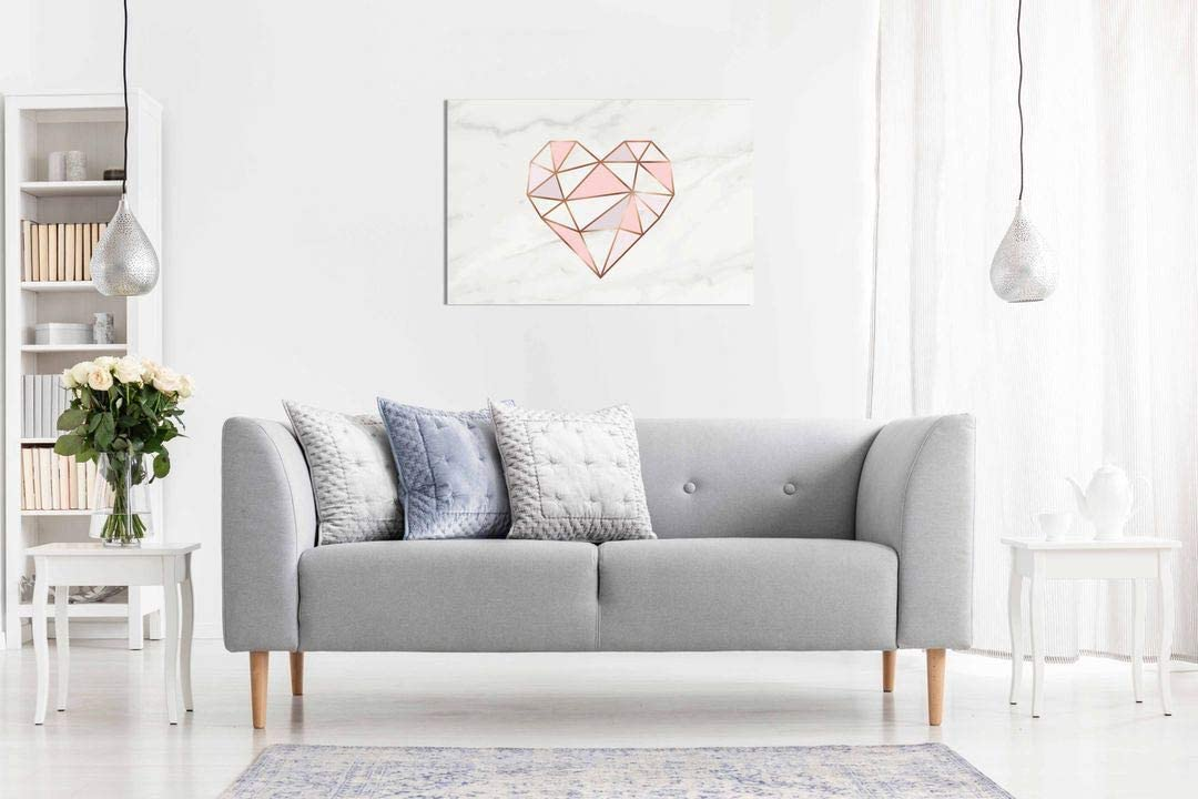 Pink Heart Shaped Gray Flower Canvas Wall Room Art Picture Print Home Décor
