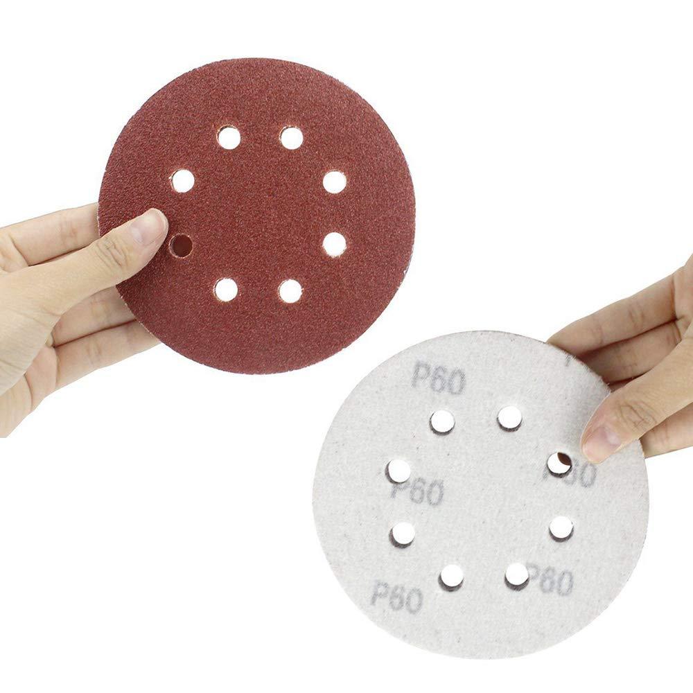 Hook and Loop 8-Holes Sandpaper 40 60 80 100 120 180 240 320 400 800 Grits Assorted for Random Orbital Sander Yesallwas 60PCS Sanding Discs Pads 125mm