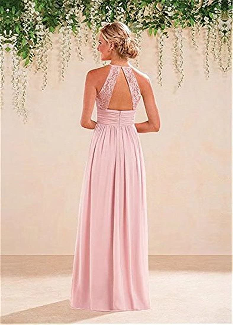 WellBridal Blush Pink Halter Evening Party Dress Lace Bridesmaid Cocktail Dress