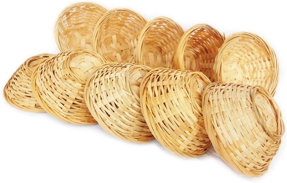 Lashuma - Juego de 10 cestas de bambú tejidas decorativas cestas de almacenamiento vacías, redondas, 10 x 4 cm, para regalo