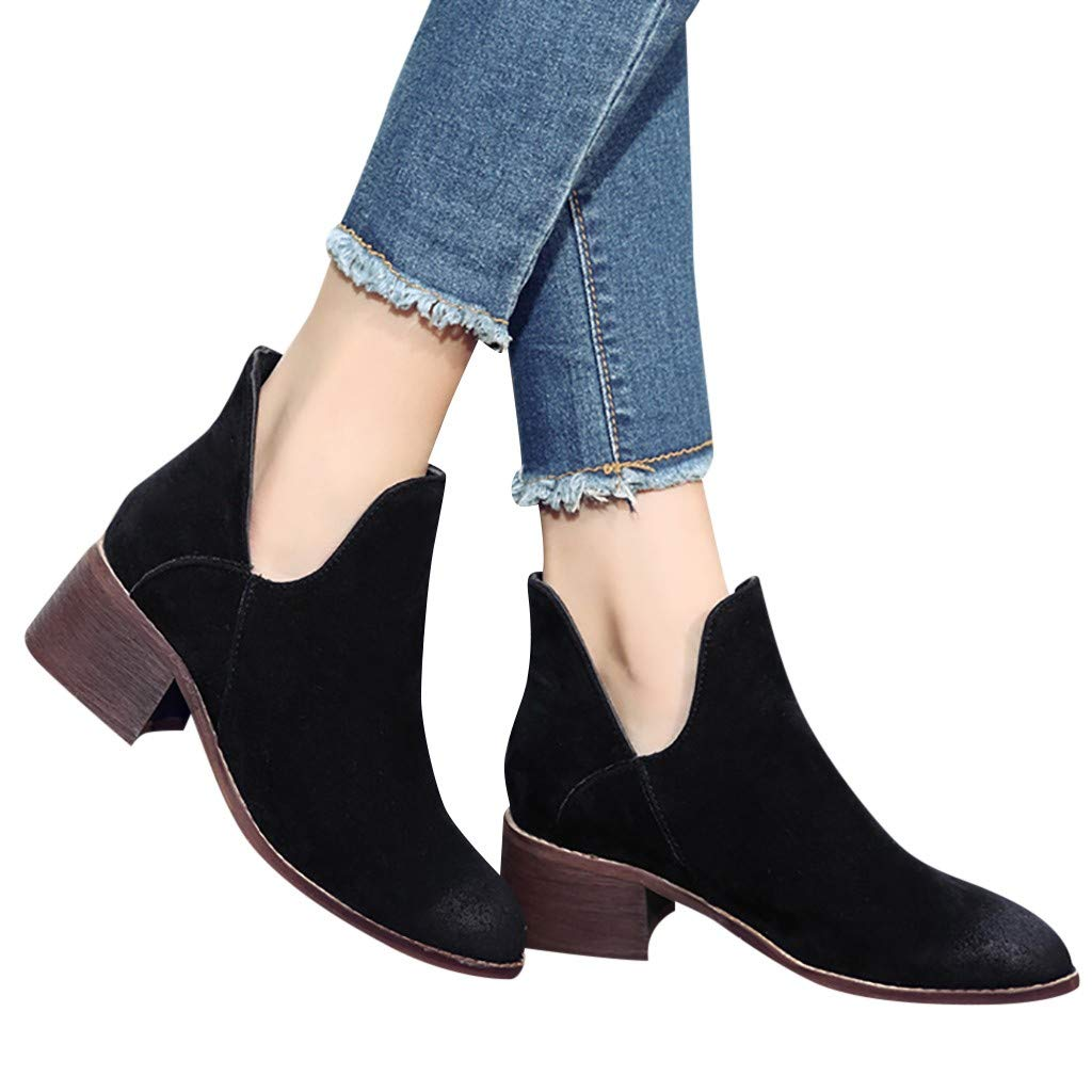 Ankle Boots for Women Chunky Block Mid Heel Ankle Boot Pointed Toe Slip On Pumps Dress Shoes Cutout Booties (US:5.5(36), Black) by Dasuy