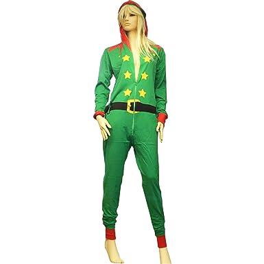 UNISEX ADULT MENS WOMEN RED SANTA GREEN ELF ONESIE XMAS COSTUME ALL IN ONE  DRESS Elf 89ab69b7c