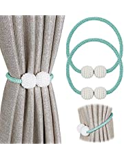 [2 Pack] Magnetic Curtain Tiebacks Convenient Drape Tie Backs - Pinowu Pearl Decorative Rope Holdback Holder for Small, Thin or Sheer Window Drapries