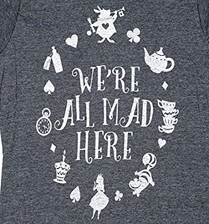 Womens Charcoal Marl Disney Alice in Wonderland were All Mad Here T Shirt  at Amazon Women's Clothing store: