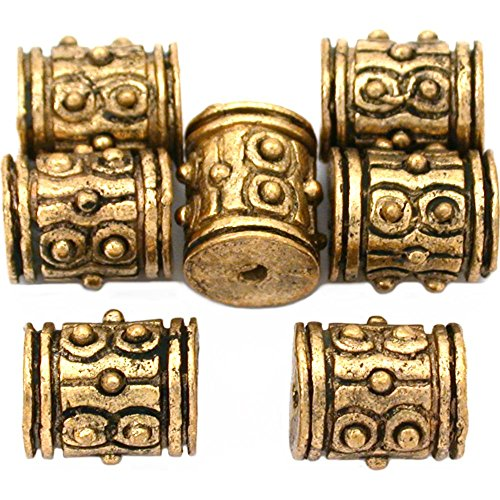16g Bali Dot Barrel Beads Antq Gold Plated 9mm Approx 7 ()