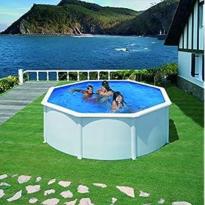 Gre KIT350ECO Fidji – Piscina Elevada Redonda, Aspecto Acero Blanco, 350 x 120 cm