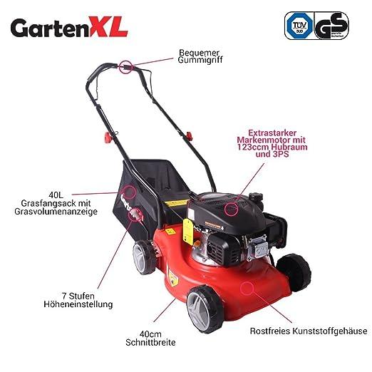 Cortacésped GardenXL 16LP-123-S, gasolina, 123 cm³, motor cortacésped, anchura de corte 40 cm: Amazon.es: Bricolaje y herramientas